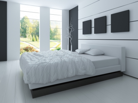 3d bedroom: Modern design black and white bedroom interior Stock Photo