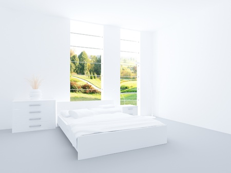 Modern design white colored bedroom interior photo