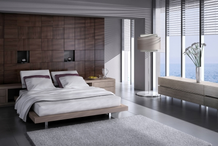 Modern design slaapkamer interieur met grote ramen Stockfoto