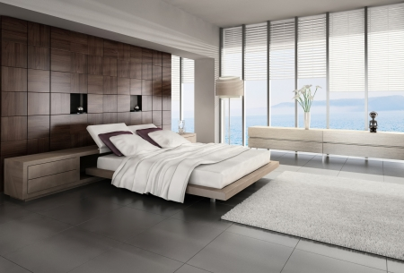 3d bedroom: Modern design bedroom interior Stock Photo