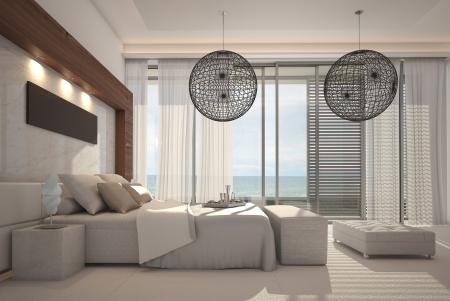 현대 흰색 침실 인테리어
