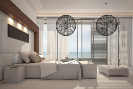 3d bedroom: Modern white bedroom interior Stock Photo