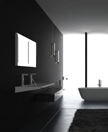 high tech design: Modern luxurious black bathroom interior Stock Photo
