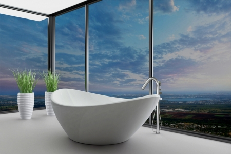 modernen Badezimmer Interieur mit Landschaft Blick