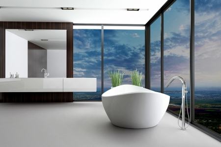 modern bathroom interior with landscape view photo