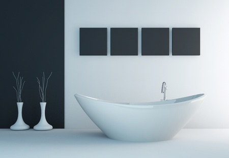modern black and white bathroom interior photo