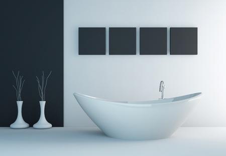 Moderno bagno interno bianco e nero Archivio Fotografico - 28685586