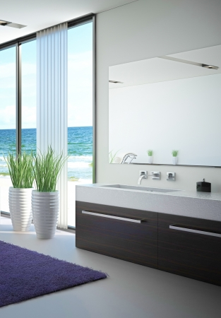 modern bathroom interior with seascape view Stock Photo - 20217848
