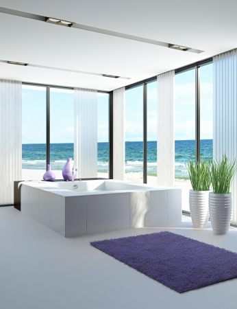contemporary: modern bathroom interior with seascape view  Stock Photo