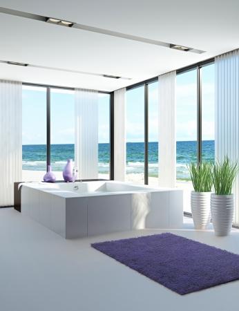 modernen Badezimmer Interieur mit Meerblickansicht