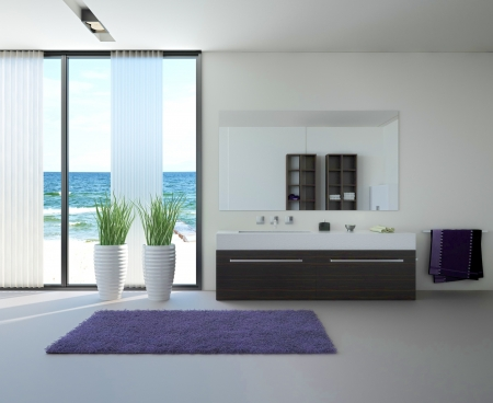 bathroom mirror: modern bathroom interior with seascape view  Stock Photo