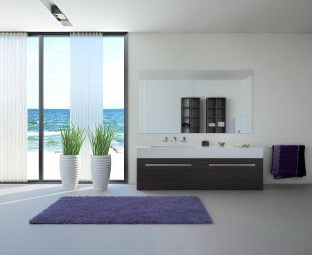 bathroom interior: modern bathroom interior with seascape view  Stock Photo