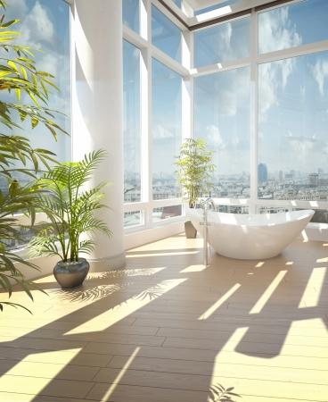Modern bathroom interior with cityscape view photo