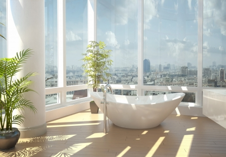Modern bathroom interior with cityscape view Stock Photo - 20217856