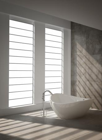 Modern bathroom interior with floor to ceiling windows Stock Photo - 20217847