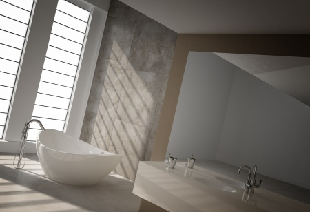 Modern bathroom interior with floor to ceiling windows Stock Photo