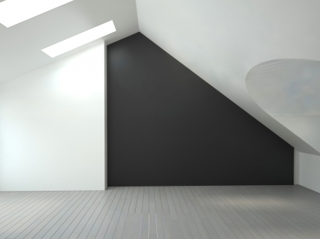 A 3d rendering of empty room  photo