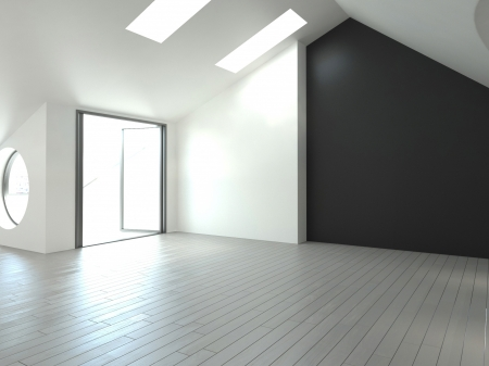 A 3d rendering of empty loft interior photo