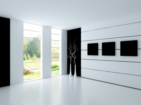 A 3d rendering of empty white room