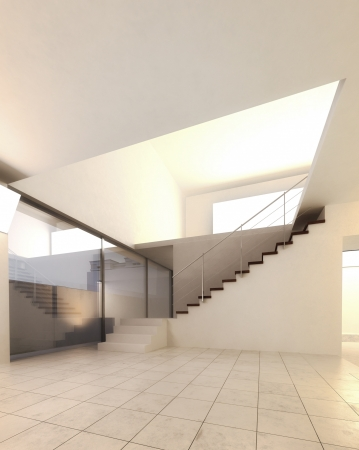 A 3d rendering of staircase in an empty hall photo