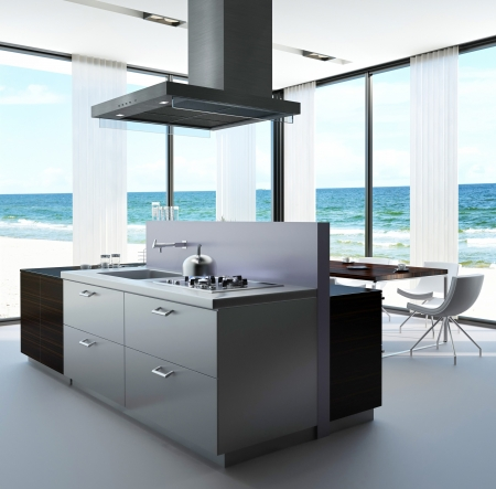 A 3d rendering of kitchen of a villa photo