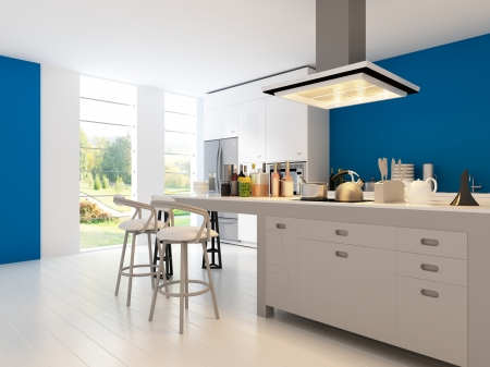 Een 3D-weergave van een moderne keuken interieur Stockfoto