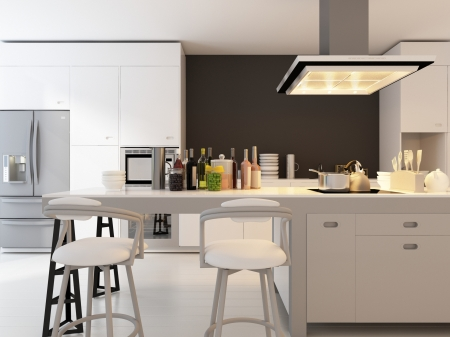 A 3d rendering of modern kitchen interior photo