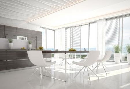 3d keuken Eetkamer interieur Stockfoto