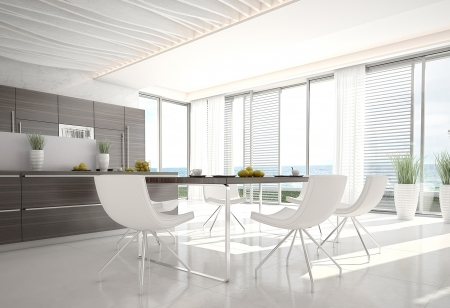 3d kitchen   Dining room interior