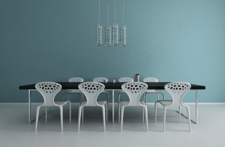 dining table and chairs: A 3d rendering of modern dining room interior