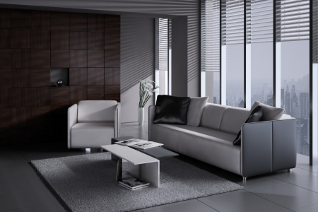 3D rendering: modern living room
