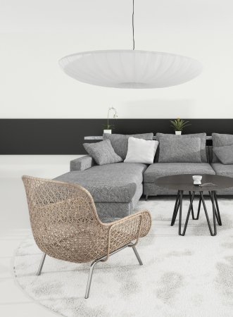 A 3d rendering of grey living room interior photo
