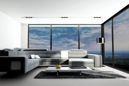 futuristic interior: modern loft interior with landscape view Stock Photo
