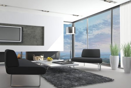 modern living room: modern loft interior with landscape view Stock Photo