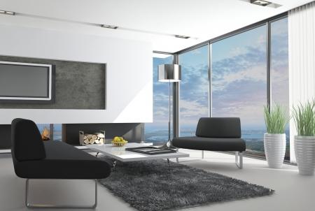 moderne Loft-Interieur mit Blick auf Landschaft
