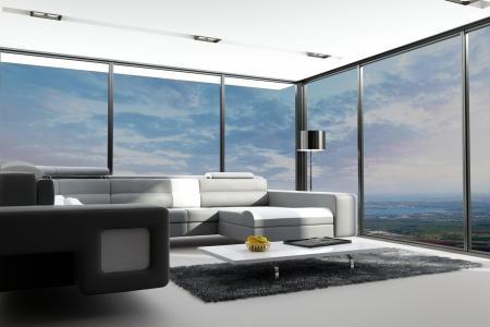 view window: modern loft interior with landscape view Stock Photo