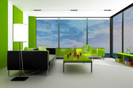 modern green loft interior with landscape view photo