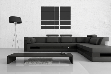 Modern design living room interior with black couch photo