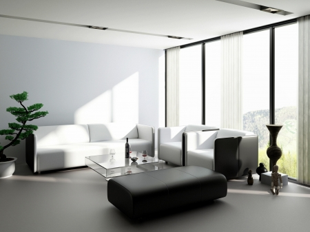 Modern design living room interior with couch set photo