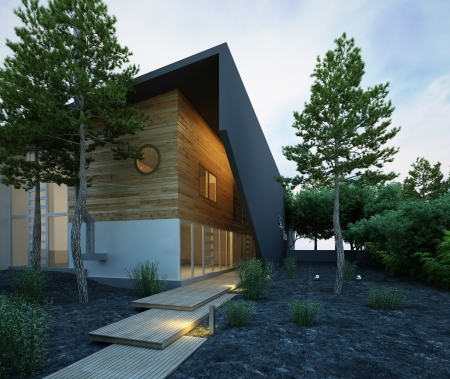 Stylish house exterior at dawn photo