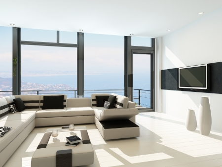 interior architecture: Modern white living room interior with splendid seascape view
