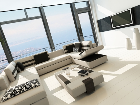 Modern white living room interior with splendid seascape view Stock Photo - 23073118