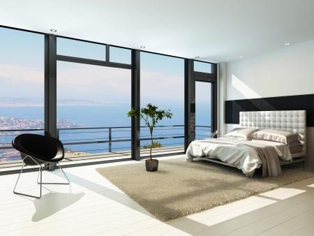 大きな窓と現代のモダンな日当たりの良い寝室のインテリア