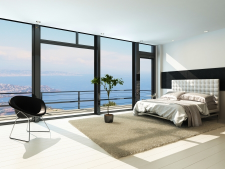 3d bedroom: Contemporary modern sunny bedroom interior with huge windows Stock Photo