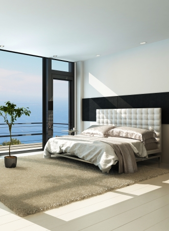 Contemporary modern sunny bedroom interior with huge windows photo