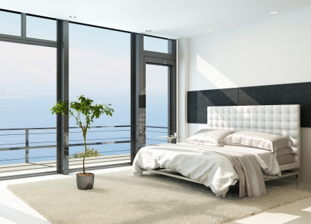 luxury hotel room:  Contemporary modern sunny bedroom interior with huge windows Stock Photo