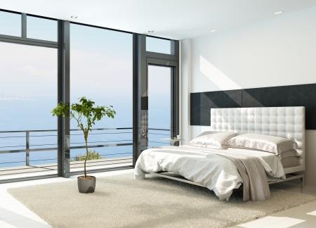 Eigentijds modern zonnig interieur met grote ramen slaapkamer Stockfoto