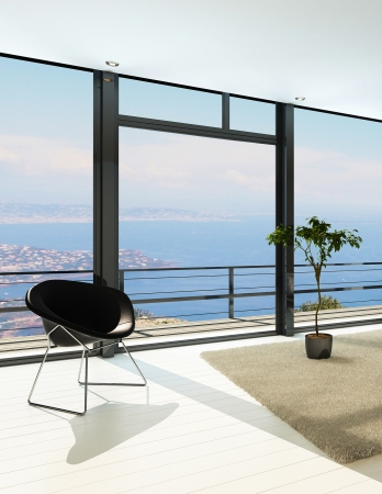 balcony design: Light room interior with floor to ceiling windows and black armchair
