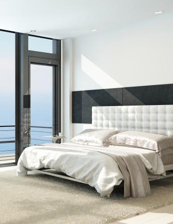 Contemporary modern sunny bedroom interior with huge windows Reklamní fotografie