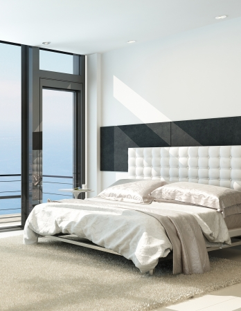 master bedroom:  Contemporary modern sunny bedroom interior with huge windows Stock Photo